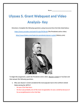 Ulysses S. Grant- Webquest and Video Analysis with Key