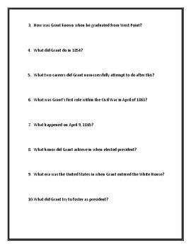 Ulysses S. Grant Webquest with Answer Key!