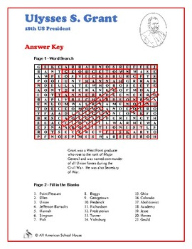 Ulysses S. Grant - U.S. Presidents Word Search and Fill in the Blanks