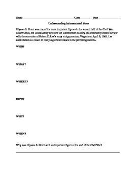 Ulysses S. Grant Worksheet