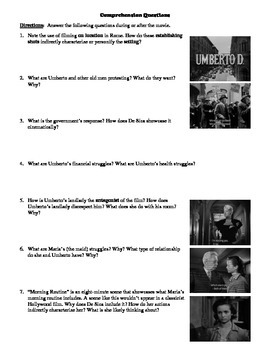 Umberto D. Film (1952) Study Guide Movie Packet