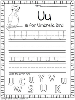 "Umbrella Bird and Letter ""U"" Crafts plus Letter Writing Pages"