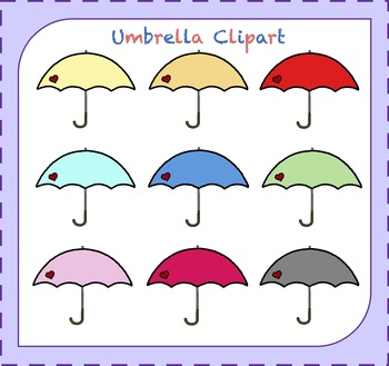 Umbrella Clipart / Rain Clipart / Weather Clipart