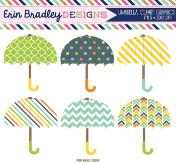Umbrella Clipart in Blue Orange Yellow Green Digital Weather Clip Art Graphics