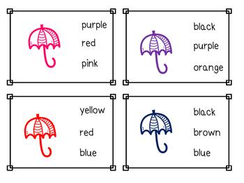 Umbrella Color Sight Word Clip Cards
