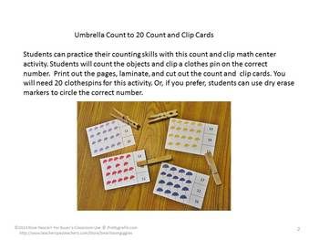 Umbrellas Counting to 20, Count and Clip, Kindergarten Math, Special Education