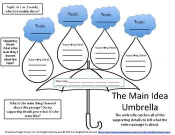 Umbrella Main Idea Graphic Organizer