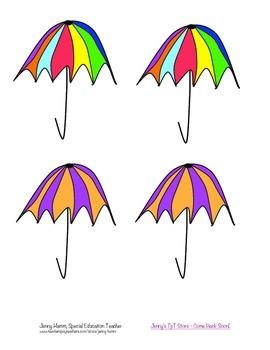 Umbrella Matching Game! Color match, sorting, patterns, more! Spring time fun!