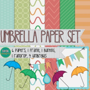 Digital Paper and Frame Set- Umbrella