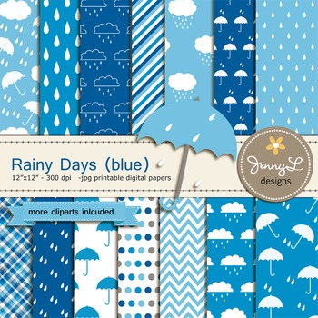 Umbrella Rain Digital Paper and clipart