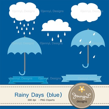 Umbrella Rain Digital Paper and clipart