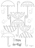 Umbrella Spring Time Coloring page FREE