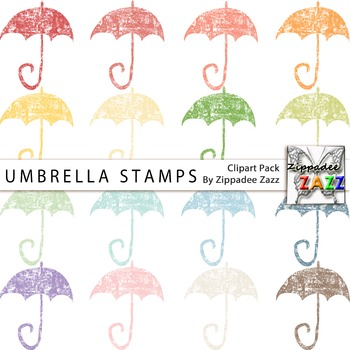 Umbrella Stamps Clipart - April Showers / Rainy Day