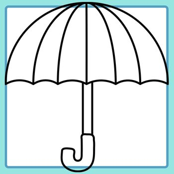 Umbrella Templates - with 3 to 6 Blank Areas for Math or Patterns Clip Art Set