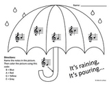 Umbrella Treble Clef Note Identification Coloring Page/Worksheet
