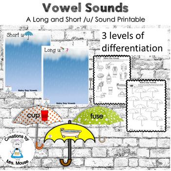 Phonics- Vowels - Raining Vowels (Long & Short u)