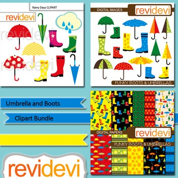 Umbrella and Boots Clip art Bundle (3 packs) clipart and digital papers