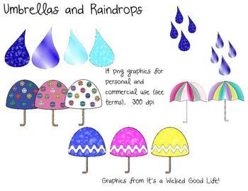 Umbrella and Raindrop Clip Art