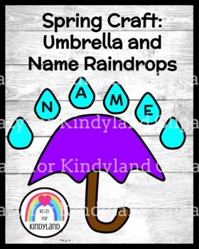 Spring, Summer Weather Craft : Umbrella and Name Raindrops