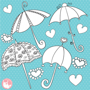 Umbrella stamps, black line, commercial use, vector graphics, images  - DS327
