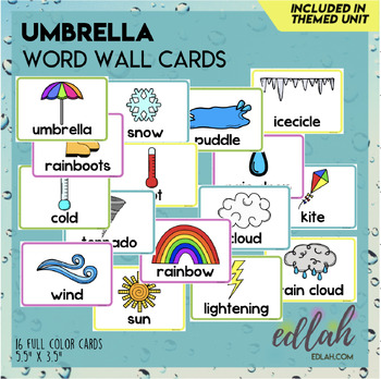 Umbrella/Weather Vocabulary Word Wall Cards (set of 14)