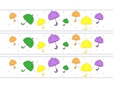 Umbrellas April Rain Bulletin Board Border Printable Full Color PDF