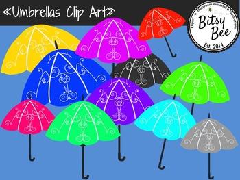 Umbrellas Clip Art.