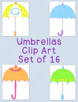 Umbrellas Clip Art Bundle Spring April PNG JPG Blackline Commercial Personal