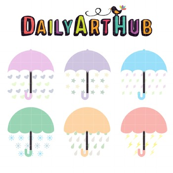 Umbrellas Clip Art - Great for Art Class Projects!