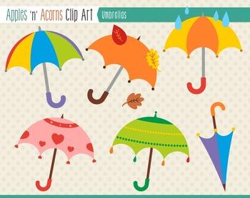 Umbrellas Clip Art - color and outlines