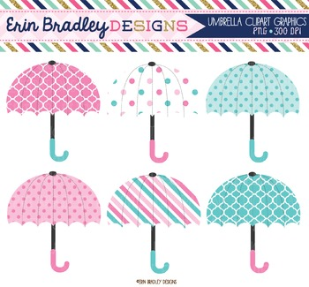 Umbrellas Clipart - Pink and Blue