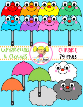 Umbrellas & Clouds Clipart