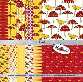 Umbrellas Digital Paper by Poppydreamz