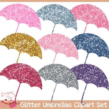 Umbrellas Umbrella Glitter Silhouettes Clipart Set