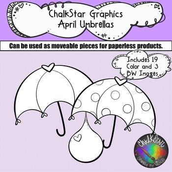 Umbrellas and Raindrops Clip Art –Chalkstar Graphics