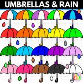 Umbrellas Clipart Raindrops Clipart Rainbow Colors Clip Art Rain