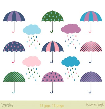 Umbrellas clipart and clouds with raindrops, Colorful digital umbrellas