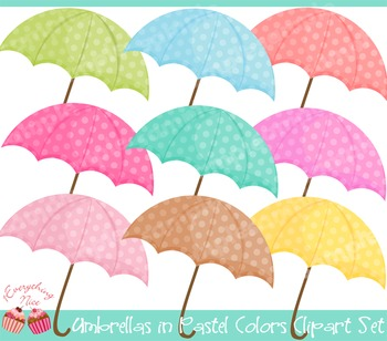Umbrellas in Pastel Colors Clipart Set