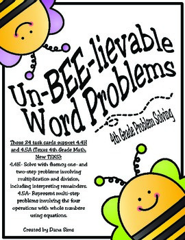 Un-BEE-lievable Word Problems (TEKS 4.4H and 4.5A) STAAR Practice