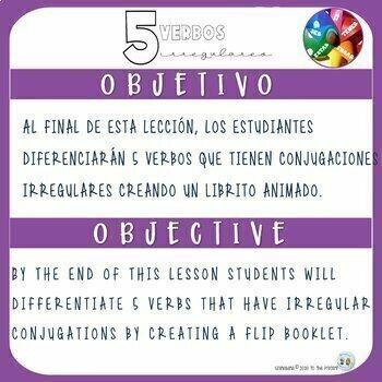 Flip Book for 5 Irregular Spanish Verbs SER, ESTAR, TENER, IR, JUGAR