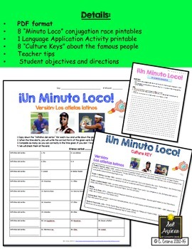 Minuto Loco - Set #2 Any Verb, Any Tense Conjugation Games - Standard Size
