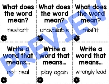 Un-, Re-, Mis- Prefix Task Cards