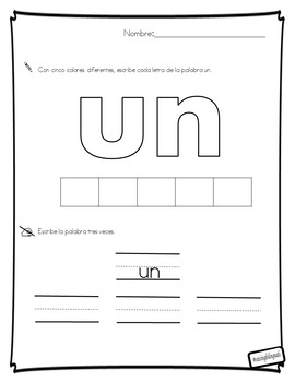 Un (Spanish sight word work)