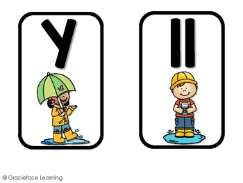 Un día lluvioso – A Spanish phonics center for ll and y words