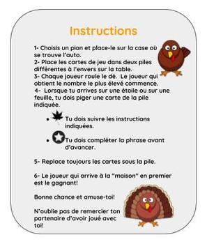 Un jeu pour l'Action de Grâce - A French Thanksgiving Game