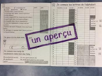 Un outil d'évaluation- FRENCH - Kindergarten/grade 1- Evaluation booklet 2