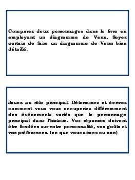 Un projet de livre – A French Book Project – Activity Cards