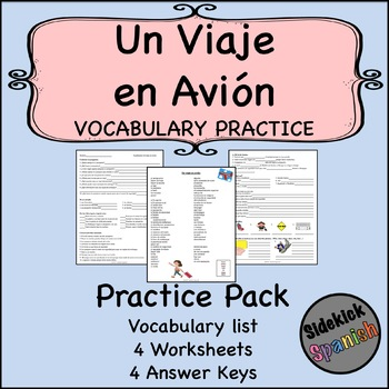 Un viaje en avión Vocabulary Practice Worksheets (Así Se Dice Level 1, Ch  10)
