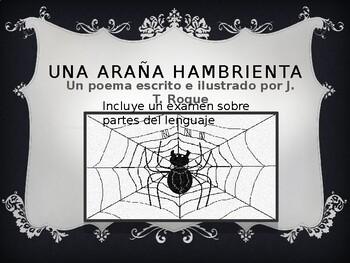 Una Araña Hambrienta, un poema escrito e illustrado por J. T. Roque
