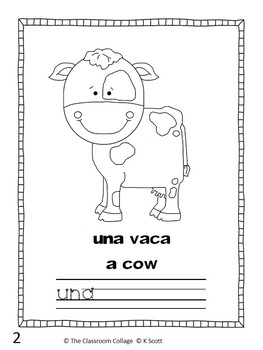 Una Granja Spanish Sight Word Early Reader Book  un, una (a) Bilingual